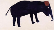 Bill Traylor - Untitled (Black Elephant with a Brown Ear), ca. 1939-1940