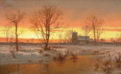 Louis Rémy Mignot - Sunset, Winter, 1862