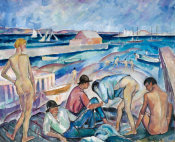 B. J. O. Nordfeldt - Figures on the Beach, Provincetown, 1916