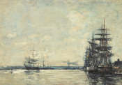 Eugène Louis Boudin - Ships in Harbor, ca. 1870