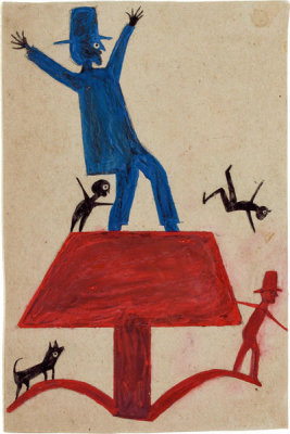 Bill Traylor - Untitled (Blue Man on Red Object), ca. 1939-1942