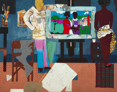 Romare Bearden - Profile/Part II, The Thirties: Artist with Painting and Model, 1981