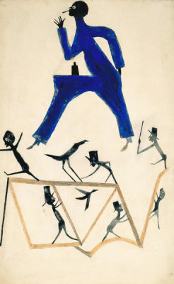 Bill Traylor - Untitled (Smoking Man with Figure Construction), ca. 1939-1942