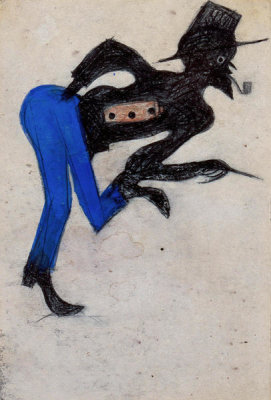 Bill Traylor - Untitled (Man in Blue Pants), ca. 1939-1942