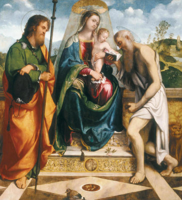 Girolamo Romani - Madonna and Child with St. James Major and St. Jerome, ca. 1512