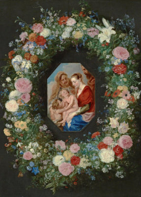 Jan Brueghel the Elder - Holy Family with a Garland of Flowers, ca. 1620