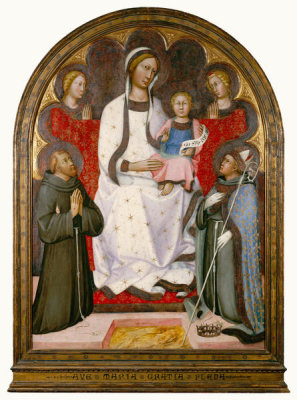 Paolo di Giovanni Fei - Madonna and Child with Two Angels, St. Francis and St. Louis of Toulouse, ca. 1375