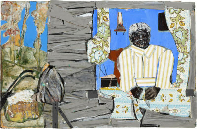Romare Bearden - Lady and Quilt, 1985