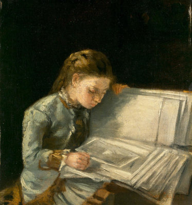 Artist Unidentified - Young Girl with a Portfolio of Pictures, ca. 1876